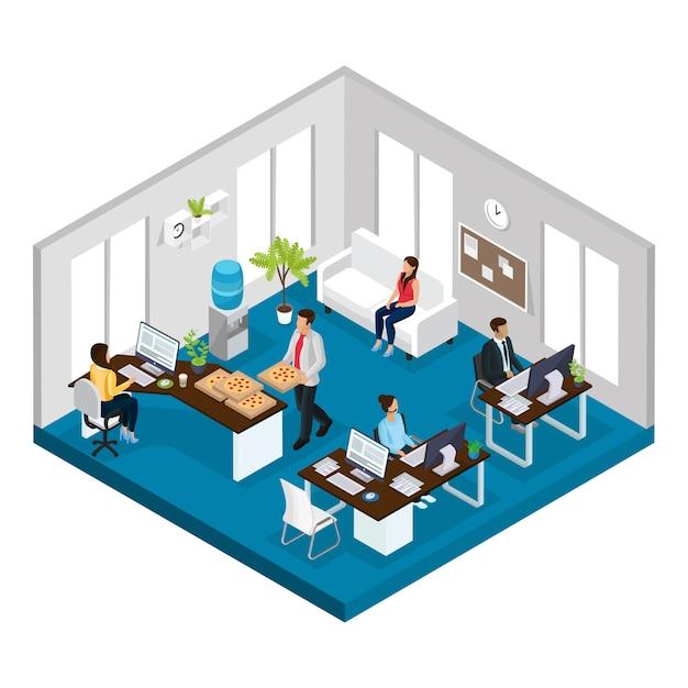 Concepto de oficina de servicio de soporte isométrico vector gratuito