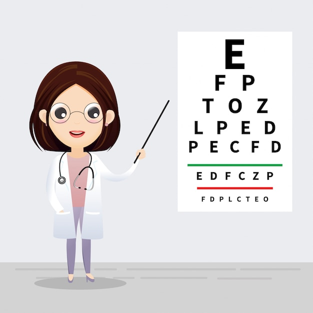 Concepto de oftalmología oculista apuntando a la tabla de prueba ocular. examen y corrección de la vista. vector, ilustración Vector Premium