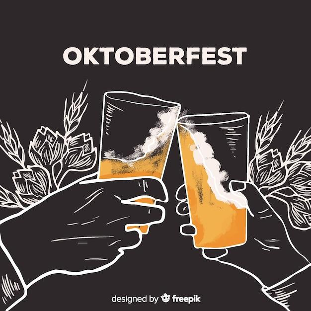Concepto de oktoberfest con fondo dibujado a mano vector gratuito