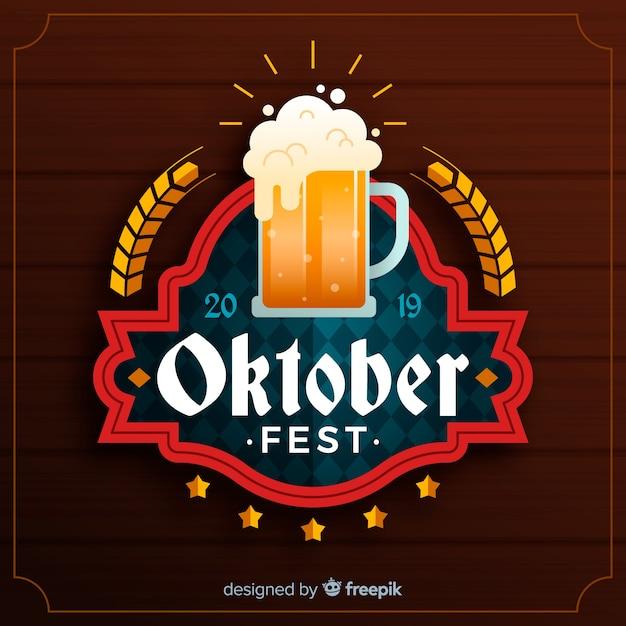 Concepto de oktoberfest con fondo de diseño plano vector gratuito