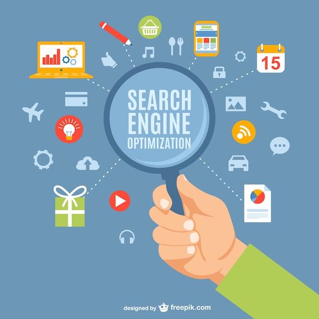 Concepto de optimización de motores de búsqueda vector gratuito