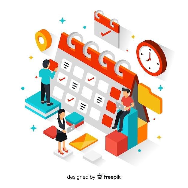 Concepto de organización de horario con perspectiva isométrica vector gratuito