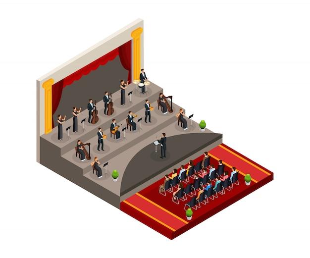 Concepto de orquesta sinfónica isométrica con director y músicos que tocan música clásica frente a la audiencia aislada vector gratuito