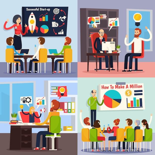 Concepto ortogonal de coaching empresarial vector gratuito