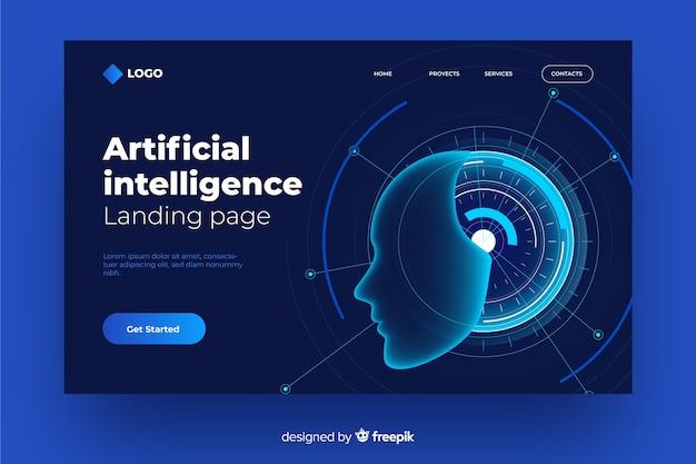 Concepto de página de aterrizaje con inteligencia artificial vector gratuito
