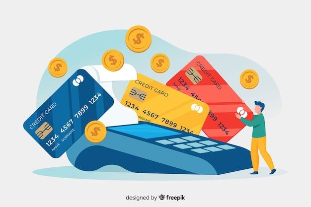 Concepto de página de aterrizaje pago con tarjeta de crédito vector gratuito