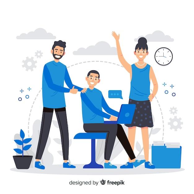 Concepto de página de destino de compañeros de trabajo vector gratuito