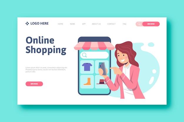 Concepto de página de destino de compras en línea vector gratuito