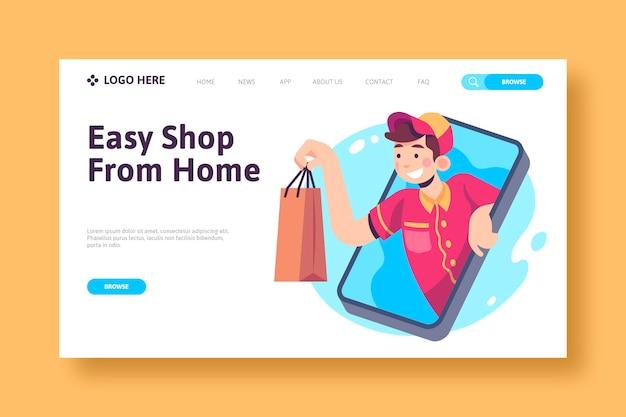 Concepto de página de destino de compras en línea Vector Premium