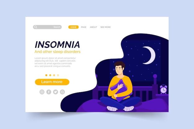 Concepto de página de destino de insomnio vector gratuito
