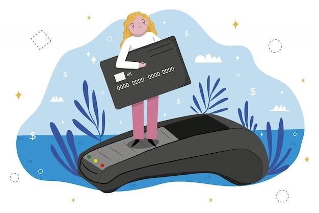 Concepto de página de destino de pago con tarjeta de crédito vector gratuito
