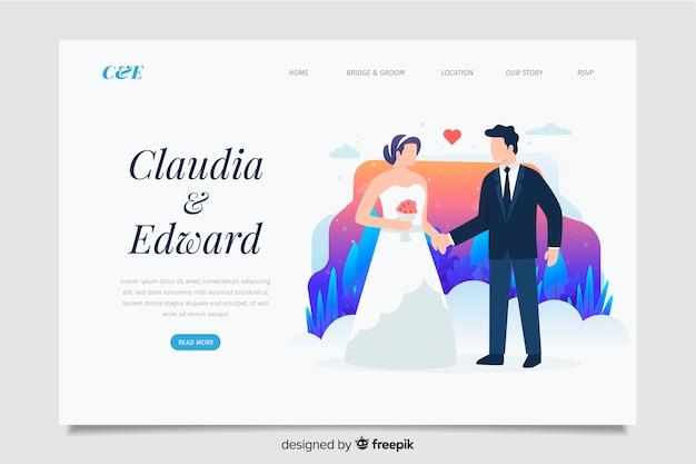 Concepto de página de destino para tema de boda vector gratuito