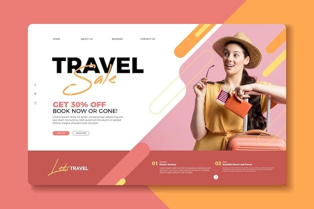 Concepto de página de destino de venta de viajes vector gratuito