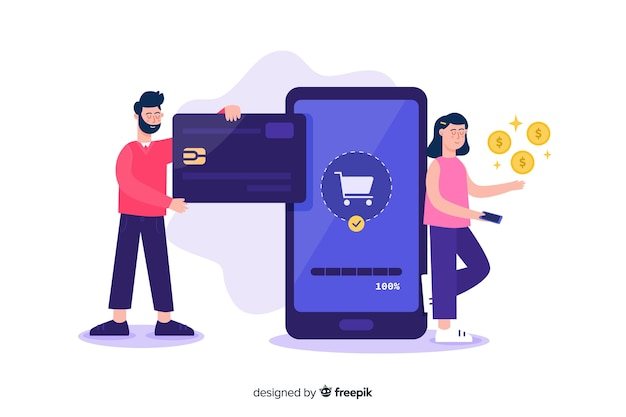 Concepto de pago con tarjeta de crédito de la página de destino vector gratuito