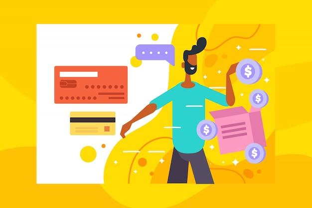Concepto de pago con tarjeta de crédito para la página de inicio vector gratuito