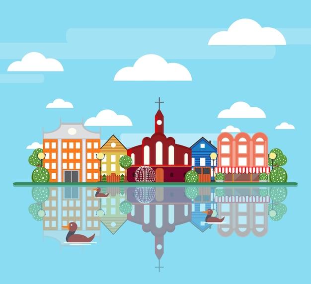 Concepto de paisaje de ciudad de primavera plana vector gratuito