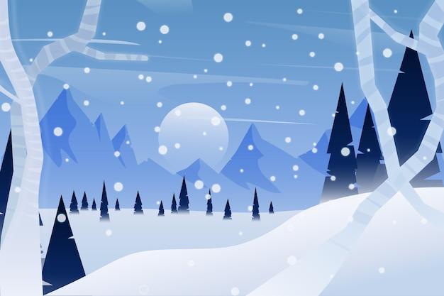 Concepto de paisaje de invierno de diseño plano vector gratuito