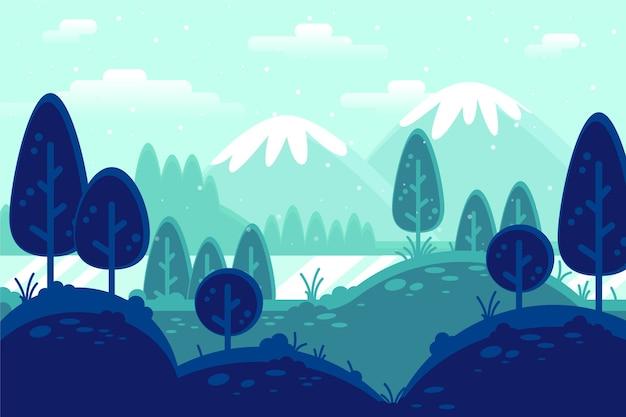 Concepto de paisaje de invierno en diseño plano vector gratuito