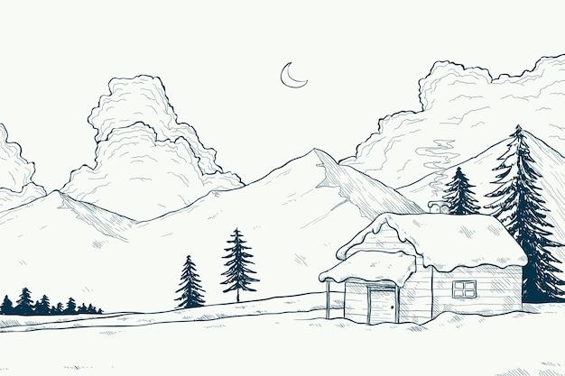 Concepto de paisaje de invierno en mano dibujado vector gratuito