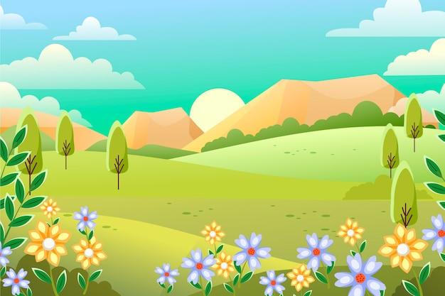 Concepto de paisaje de primavera de diseño plano vector gratuito