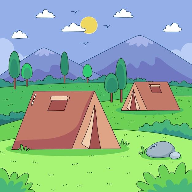 Concepto de paisaje de zona de acampada vector gratuito