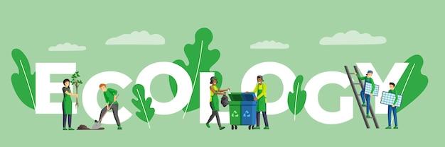 Concepto de palabra ecología banner de color plano. estilo de vida ecológico y sostenible, protección del medio ambiente y actividades para salvar la naturaleza. personajes de gente pequeña que instalan paneles solares, plantan árboles Vector Premium