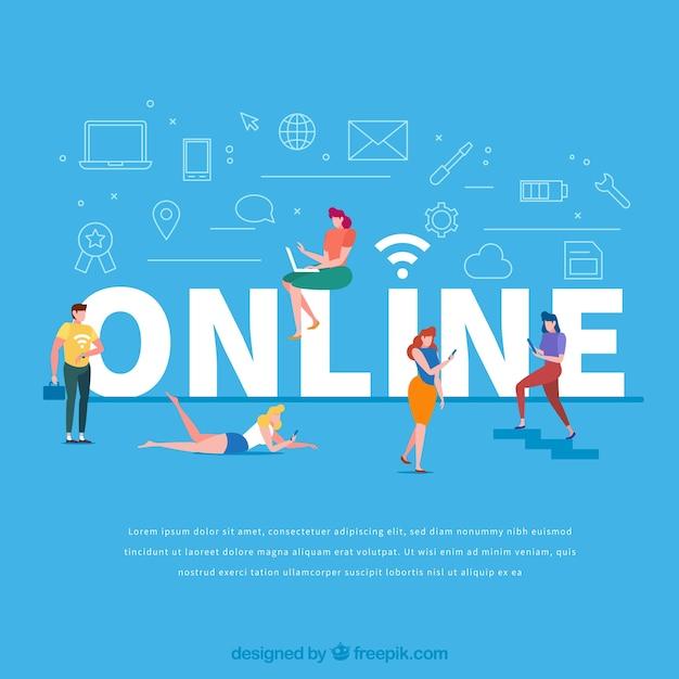 Concepto de palabra online Vector Premium