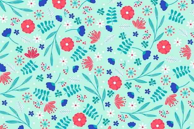 Concepto de papel tapiz con estampado floral ditsy colorido vector gratuito