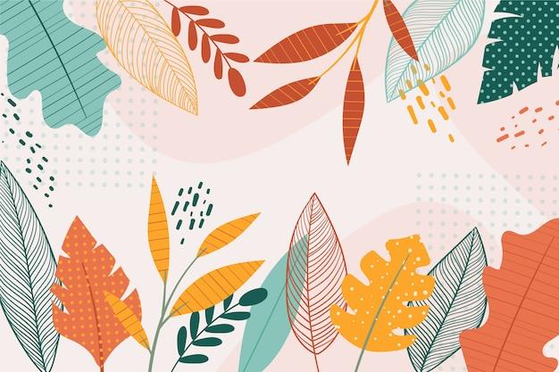 Concepto de papel tapiz floral de diseño plano vector gratuito