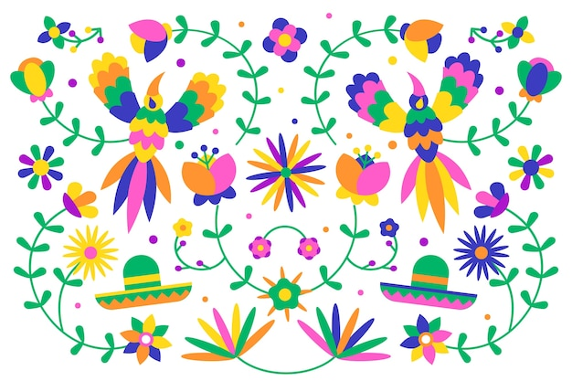 Concepto de papel tapiz mexicano colorido diseño plano vector gratuito