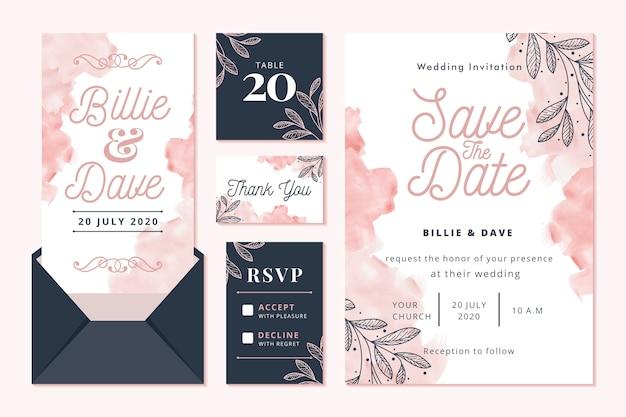 Concepto de papelería de boda con guardar la fecha Vector Premium