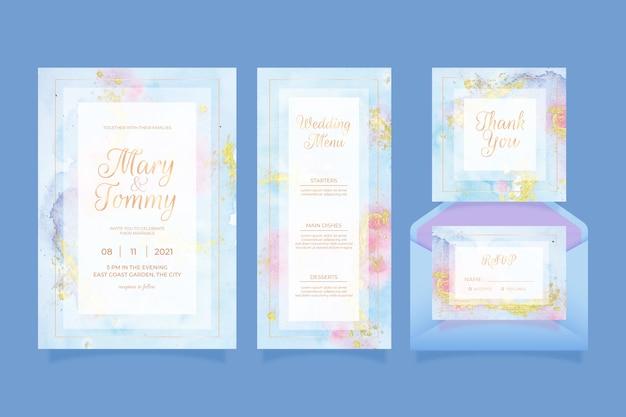 Concepto de papelería de boda vector gratuito