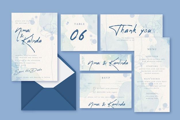 Concepto de papelería de invitación de boda vector gratuito