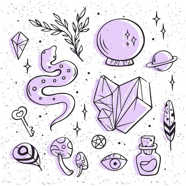 Concepto de paquete de elementos esotéricos vector gratuito