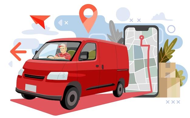 Concepto de paquete de entrega. entrega de camioneta mediante mapa o gps. e ilustración, Vector Premium