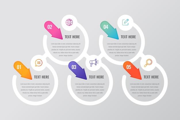 Concepto de pasos de infografía de diseño plano Vector Premium