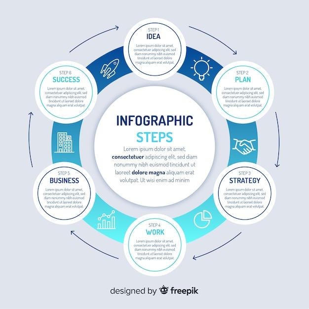 Concepto de pasos infográficos con colores gradientes vector gratuito