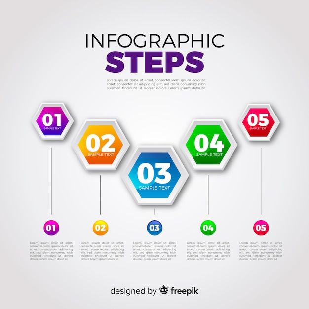 Concepto de pasos infográficos con efecto gradiente vector gratuito