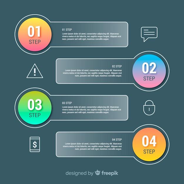 Concepto de pasos infográficos gradientes vector gratuito