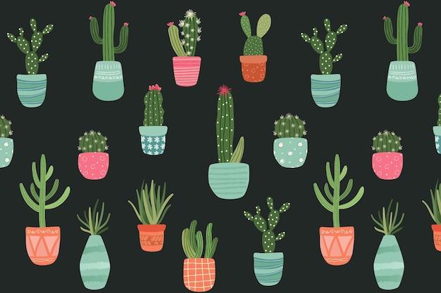 Concepto de patrón de cactus Vector Premium