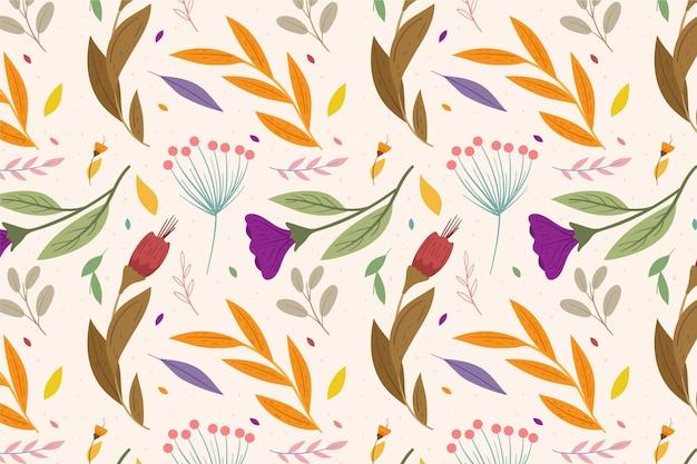 Concepto de patrón floral colorido vector gratuito