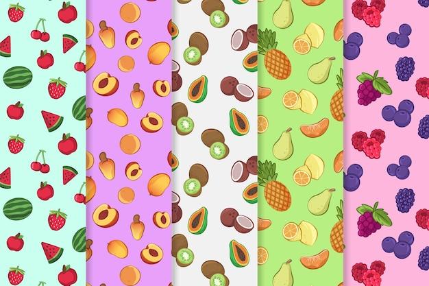 Concepto de patrón de frutas coloridas vector gratuito