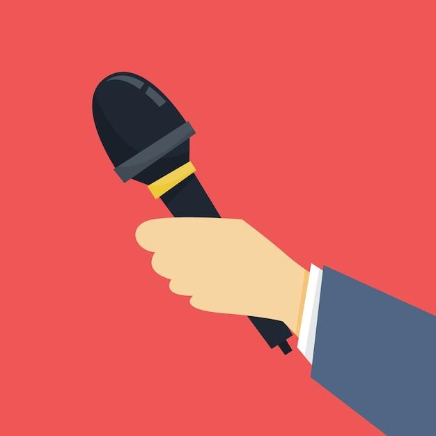Concepto de periodista. mano sosteniendo el micrófono. reportero tomar entrevista Vector Premium