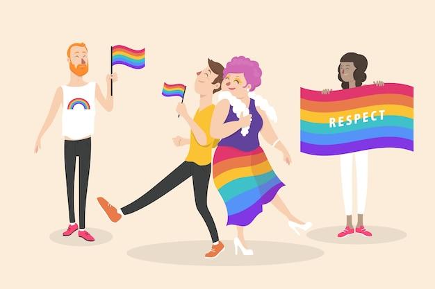 Concepto de personas del día del orgullo vector gratuito
