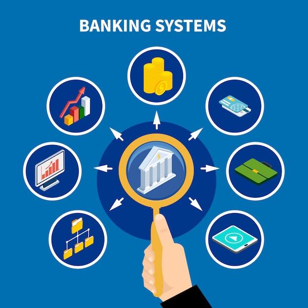 Concepto de pictograma de sistemas bancarios vector gratuito