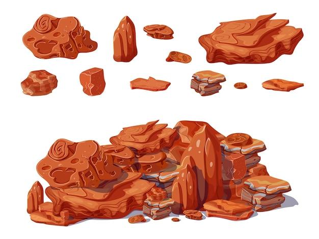 Concepto de piedras de colores de dibujos animados con rocas y cantos rodados de diferentes formas que crea pila aislada vector gratuito