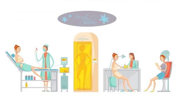 Concepto plano con clientes femeninos que realizan la depilación y reciben otros servicios en el salón de belleza del spa vector gratuito