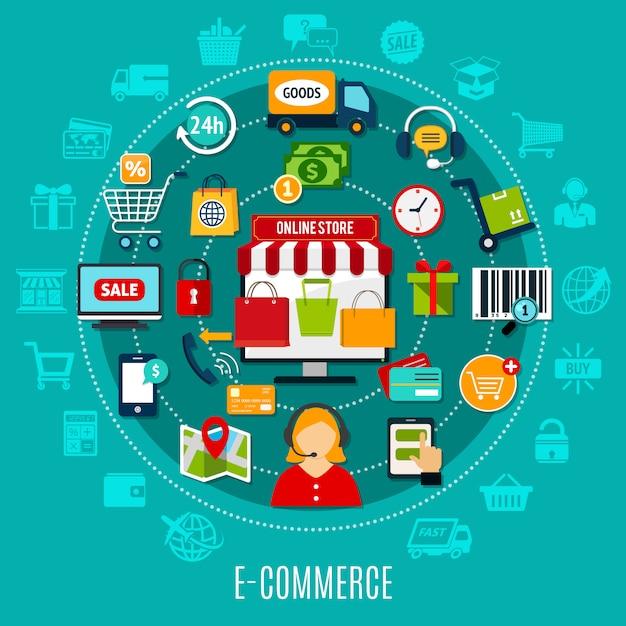 Concepto plano de comercio electrónico vector gratuito