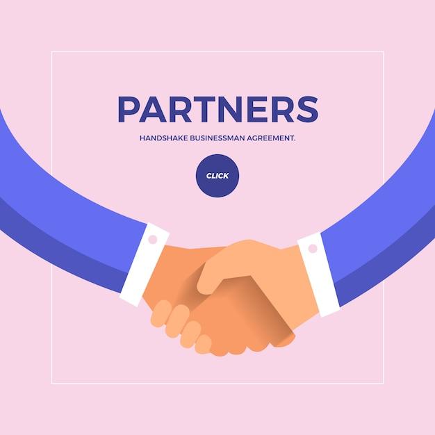 Concepto plano de control de manos para socios de negocios. Vector Premium