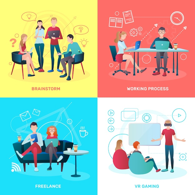 Concepto plano de coworking vector gratuito